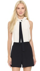 Victoria Beckham Sleeveless Ruffle Neck Blouse Cream Black