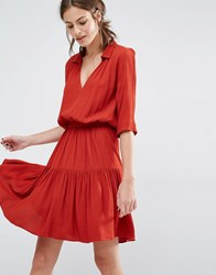 Baandsh Laura Dress With Tiered Skirt Red