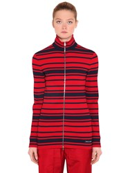 Prada Striped Ribbed Knit Zip Up Sweater Blue Red