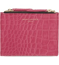 Kurt Geiger Mini Croc Embossed Leather Purse Fushia Croc