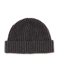 Goodman's Wide Rib Knit Cashmere Hat Charcoal Grey