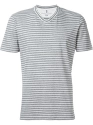 Brunello Cucinelli Striped V Neck T Shirt Grey