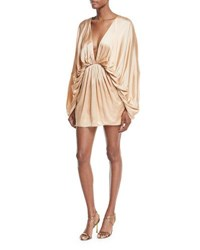 Fame And Partners Charmian Satin Plunging Mini Dress Summer Sand