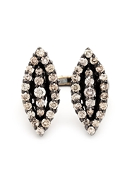 Lauren Craft Collection Double Oval Shaped Diamond Ring Metallic