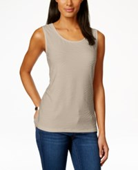 Jm Collection Scoop Neck Textured Jacquard Tank Top Only At Macy's Stone