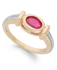 Victoria Townsend Ruby Cable Ring In 18K Gold Over Sterling Silver 1 Ct. T.W.