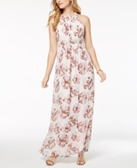 Nine West Printed Halter Maxi Dress Pastel Pink