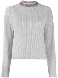 Brunello Cucinelli Bead Embellished Neck Jumper Grey