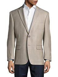 Lauren Ralph Lauren Silk Blend Window Pane Jacket Light Brown