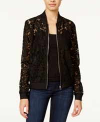 Say What Juniors' Lace Bomber Jacket Black