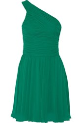 Halston Heritage One Shoulder Ruched Chiffon Dress Emerald