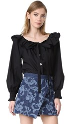 Marc Jacobs Button Front Blouse With Ruffle Black