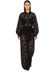 Valentino Long Viscose Lace Jumpsuit Black
