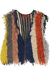 Missoni Cropped Fringed Metallic Stretch Knit Vest Multicolor