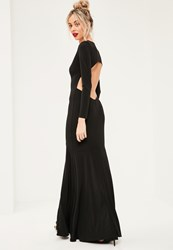 Missguided Black Plunge Long Sleeve Open Back Maxi Dress