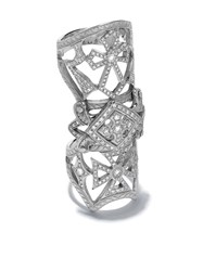 Loree Rodkin 14Kt White Gold Bondage Classic Pave Diamond Cross Ring 60