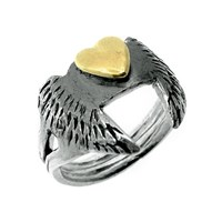 Peculiar Vintage Jewellery Curio Winged Heart Ring Silver