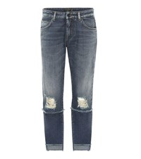 Dolce And Gabbana Distressed Mid Rise Cropped Jeans Blue