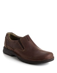 Clarks Senner Falls Leather Slip On Shoes Chocolate