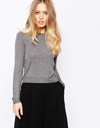 Whistles Cropped Annie Sparkle Crew Knit Charcoalmarl