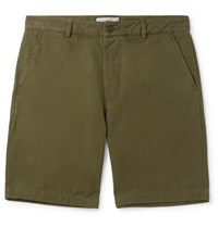 Universal Works Slim Fit Garment Dyed Cotton Canvas Shorts Army Green