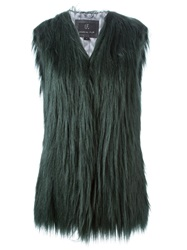 Unreal Fur Faux Fur Gilet Green