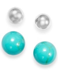 Macy's Manufactured Turquoise And Ball Stud Set In Sterling Silver 6 1 2 Ct. T.W.