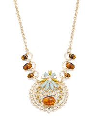 Rj Graziano Goldtone Crystal And Amber Style Pendant Necklace Multi