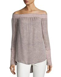 Derek Lam Printed Silk Off The Shoulder Blouse Pink Light Pink