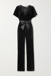 Alice Olivia Breanna Belted Wrap Effect Velvet Jumpsuit Black