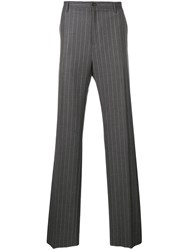Versace Pinstripe Tailored Trousers Grey