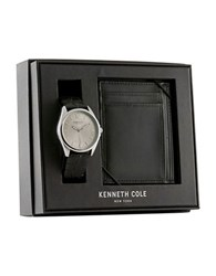 Kenneth Cole Leather And Stainless Steel Watch And Wallet Gift Set Black