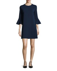Tibi Crepe Bell Sleeve Shift Dress Midnight Navy