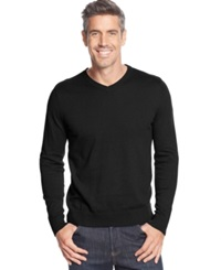 John Ashford Solid Long Sleeve V Neck Sweater Deep Black