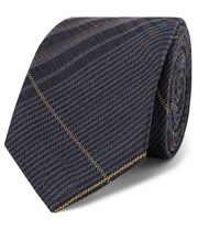 Berluti 7Cm Checked Wool And Mulberry Silk Blend Tie Navy