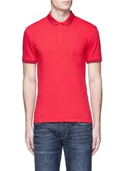 Armani Collezioni Eagle Logo Print Stripe Polo Shirt Red