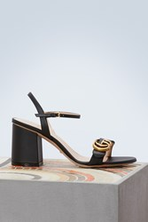 Gucci Leather Mid Heel Sandal Black