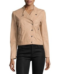 Bagatelle Snap Front Cropped Moto Jacket Nude