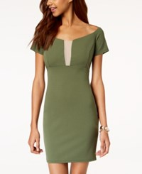 Jump Juniors' Off The Shoulder Bodycon Dress Olive