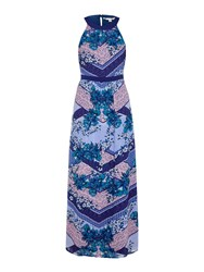 Yumi Scarf Print Georgette Maxi Dress Blue