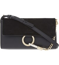 Chloe Faye Suede Wallet On Chain Black