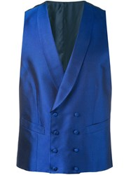 Canali Double Breasted Waistcoat Men Silk Cupro 52 Blue