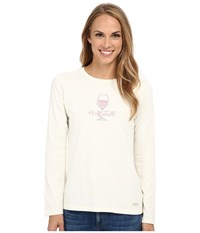 Life Is Good Crusher L S Tee Half Full Wineglass Simply Ivory Women's Long Sleeve Pullover White