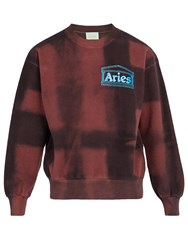 Aries Tie Dye Cotton Fleece Sweatshirt Red