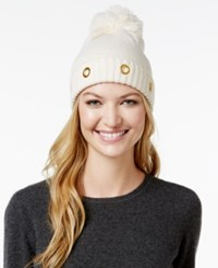 Steve Madden Solid Grommet Cuff Hat Ivory