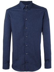Armani Collezioni Striped Shirt Blue