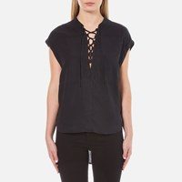 Maison Scotch Women's Cool Sleeveless Top With Lacing Detail Black