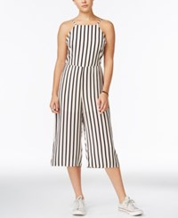 Material Girl Juniors' Striped Gaucho Jumpsuit Only At Macy's Egret Combo
