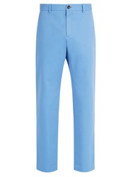 Gucci Logo Embroidered Chino Trousers Light Blue