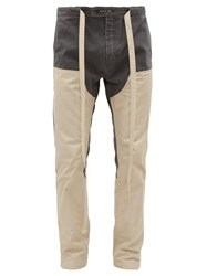 Fear Of God Drawstring Panelled Cotton Canvas Trousers Grey Cream